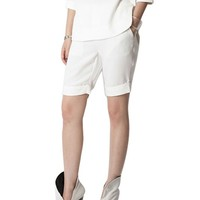 Pure Color Mid-rise Waist Shorts