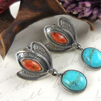 Turquoise & Italian Coral .925 Sterling Silver Post Earrings