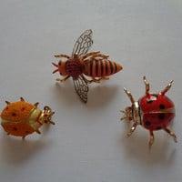 Adorable Vintage Korea Tiny Miniature Insects Bugs Ladybug Spotted Ladybird Bee Honeybee Lot 3 Piece Enameled Metal Pins Scatter Pins Brooch