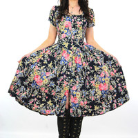 Vintage 80s 90s Grunge navy floral garden party dress