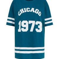 Cameo Rose Teal Chicago Baseball Oversized T-Shirt