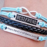 "infinity, karma bracelet, best friend bracelet , ""Where there is a will, there is a way""--Christmas gift - Best Chosen Gift"