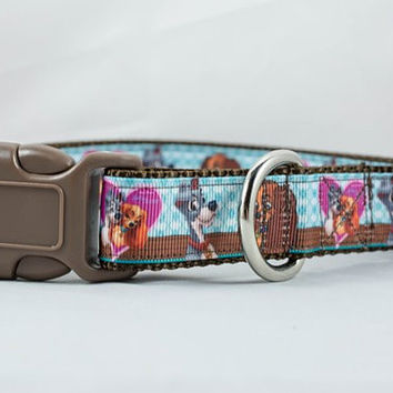 Lady and the Tramp Dog Collar, 1 inch wide, buckle or martingale style, brown, blue, pink, Disney, love valentines day, mutt, spaniel, heart