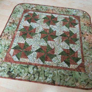 Quilted Table Topper Earthy Batiks 591