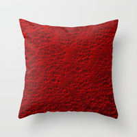 Damaged red metal Throw Pillow by steveball