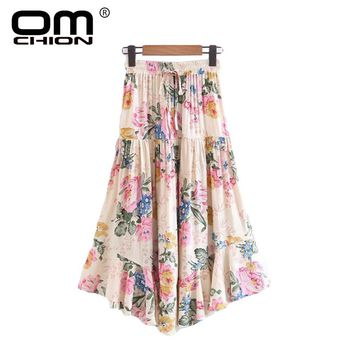 Casual Loose Floral Printed Women Shirt Fashion Sashes A-Line Long Skirt