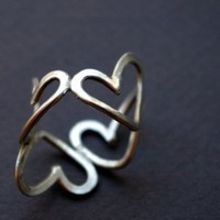 Silver Hearts Sterling Silver Ring
