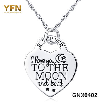 YFN Genuine 925 Sterling Silver Heart Lock Pendant Necklace I Love You to The Moon and Back Women Jewelry Engraved Necklace