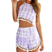 New Women Ladies 2 Piece Clothing Crop Tops and Shorts Set Clubwear Flora Playsuit Bodycon Party Clothes = UBY