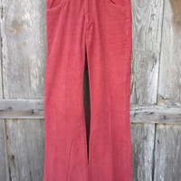 70s Burgundy Sedgefield Corduroy Bell Bottom Pants, Made in USA, W34 L34 // Vintage Trousers