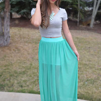 Electric Feel Maxi Skirt - Mint
