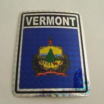 "Vermont Flag Reflective Sticker 3""x4"" Inches Adhesive Car Bumper Decal"