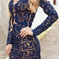 Deep Blue Long Sleeve Lace Bodycon Dress