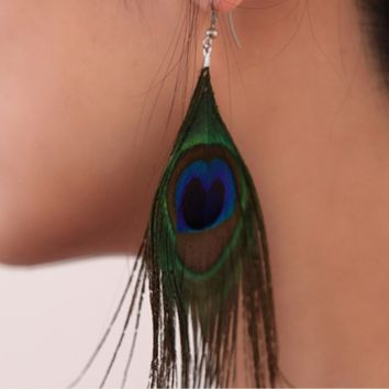 Retro national style luxury peacock feather earrings color wild earrings