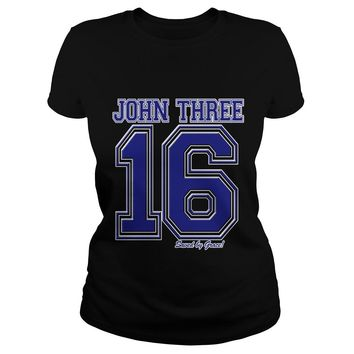 John 3 16 Christian Religious Salvation Gospel Bible shirt Ladies Tee