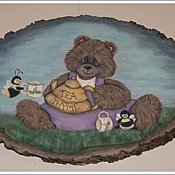Bear and Bees Having Tea Hand painted Wood Plaque Wall Hanging, Home Decor
