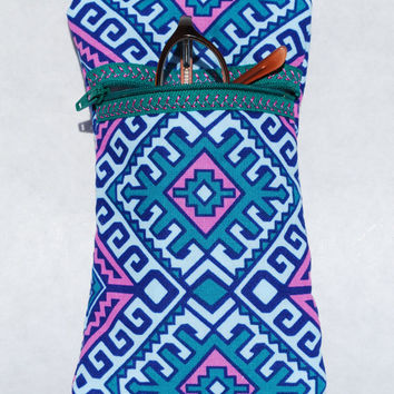 Eyeglass Case Quilted With Zipper Closing Washable Pink Dark Teal Blue Amy Butler Hapi