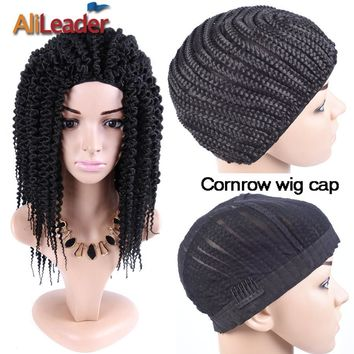 Alileader Cornrow Wig Caps Good Quality Braided Wig Cap Easy Cap For Hair Braiding New Cheap Wig Tools Crochet Cap For Wigs 2Pcs