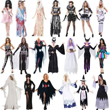 halloween scary costumes for women Zombie ghost bride Cosplay Dress Horror corpse bride skeleton vampire Day of the Dead Costume