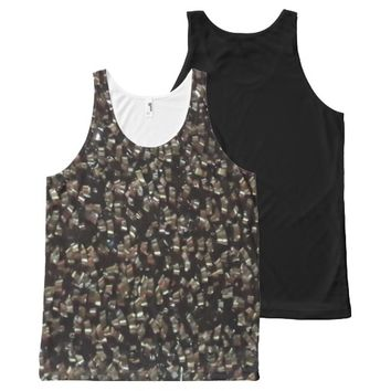 Print with black glitters All-Over-Print tank top