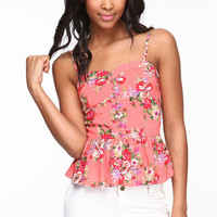 BUTTONED FLORAL BUSTIER
