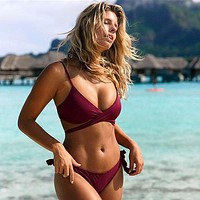 Sexy Bikini Women Swimsuit Push Up Swimwear Cross Bikini Set Bandage Bathing Suit
