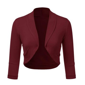 Women bolero Coat Plus Size Solid Shrug Open Front Three Quarter Cropped Mini Office Work Cardigan Solid Female cardigan