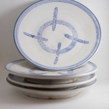 Set of 4 reticle snack plates, round white & blue serving platters, OOAK Hand made wheel thrown ceramic stoneware pottery