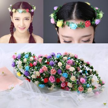 Adult Kids Artificial Flower Garland Wreath Headdress Band Hair Hoop Headband Bride Princess Crown Birthday Wedding Decoration