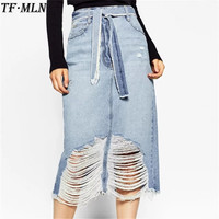 TFMLN 2017 Denim Long Skirt Vintage Button High Waist Pencil Saia Blue Slim Women Skirts Ladies Office Sexy Summer Jeans Faldas