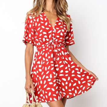 Fashion New More Print V-Neck Short sleeve Dress Women Red