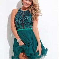Buy discount Stunning Stretch Satin & Silk Like Chiffon & Tulle Halter Neckline Short A-line Homecoming Dress at Dressilyme.com