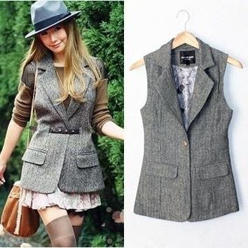 British Style Plus Size Autumn and Spring Slim Woolen Suit Vest Women Herringbone Waistcoat