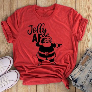 Jolly AF Christmas t-shirt festival new year graphic celebrate party style unisex gift cotton shirt aesthetic cute casual tees