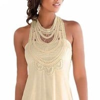 Apricot Crochet High Neck Boho Style Tank Top