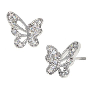 Dear Deer White Gold Plated Butterfly Pierced CZ Stud Earrings