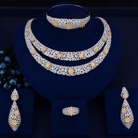 Double Layers Bridal Cubic Zirconia Crystal CZ Dubai Indian Gold  jewelry Sets