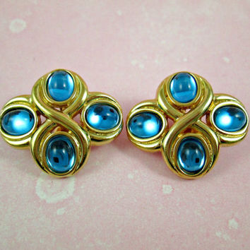 Vintage Monet Earrings Each with Four Blue Topaz Colored Oval Glass Jelly Stones in Gold Setting Comfort Clips Adjustable Tension Beauties!