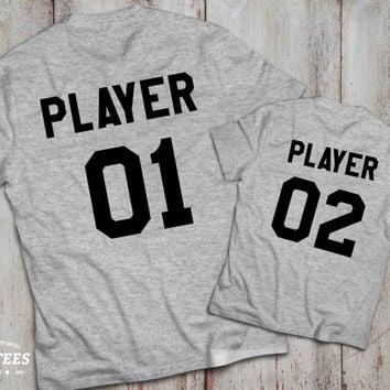 Player 1 player 2  father son matching shirts, Player 1 player 2 father son matching T-shirts, 100% cotton Tee, UNISEX
