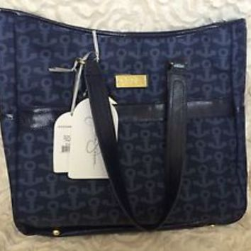 Jessica Simpson Navy Blue Anchor Weekender Luggage Tote