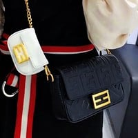 Fendi 2020 Newest Lady Crossbody Bag Mother-in-law Bag Buy Big and Get Small Two Piece Suit Black White