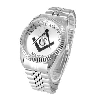 Mens Free Mason Symbol Watch 14K White Gold Tone With Jubilee Band