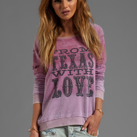 "Chaser ""From Texas With Love"" Chaser Fleece Reverse Shoulder Raglan in Obm"
