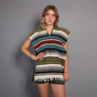 70s ETHNIC Woven PONCHO / Striped Cotton Fringe Top Jacket