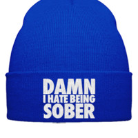damm i hate being sobber  EMBROIDERY HAT - Beanie Cuffed Knit Cap