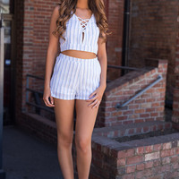 Sweet Paradise Striped Lace Up Crop Top And High Waisted Shorts Set (White)