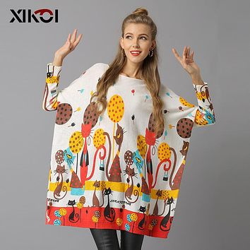 XIKOI Woman Sweater Pullovers Long Sleeve Pullovers O-Neck Knitted Casual Regular Cat Print Pull Femme Winter Female Jumper 2018