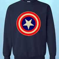 NEW Captain America shield logo CREWNECK super hero movie fashion tee