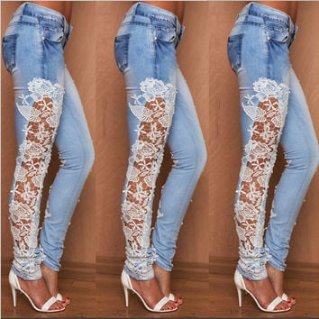 Plus Size skinny jeans Lace Hollow Out s Denim Jeans Sale Fashion Skinny Jeans Pants