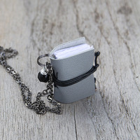 Initial necklace, miniature book necklace, mini book jewelry, literature pendant, eco friendly personalized necklace steampunk - grey